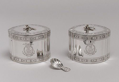 Pair of tea caddies, 1790–91  John Scofield (English, active 1776–96)  Silver