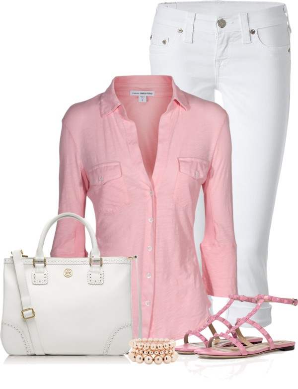 """Pink and White"" by denise-schmeltzer on Polyvore"