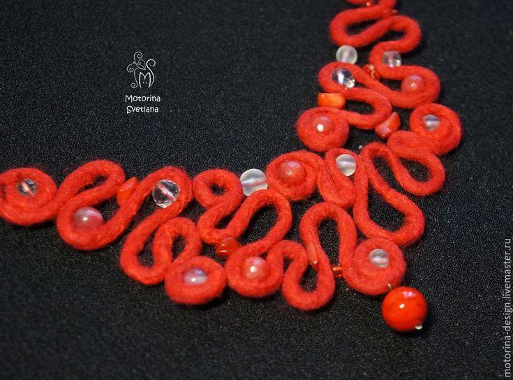 Купить Колье Красные кружева. Мериносовая шерсть с шелком - ярко-красный, красный, коралл, агат