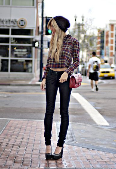 must. lose. weight.Black Skinny, Urban Outfitters, Fashion, Skinny Jeans, Street Style, Chic Street Style, Plaid Shirts, Fall Outfit, Black Jeans
