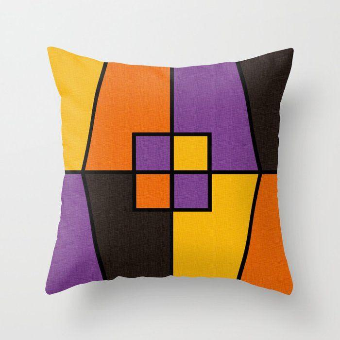 Color Block Halloween Black Lines Throw Pillow Pillows Throw Pillows Fabric Decor