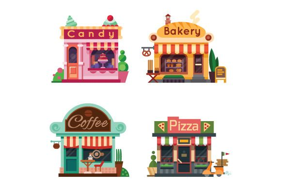 Set of Nice Shops. by TastyVector on @creativemarket