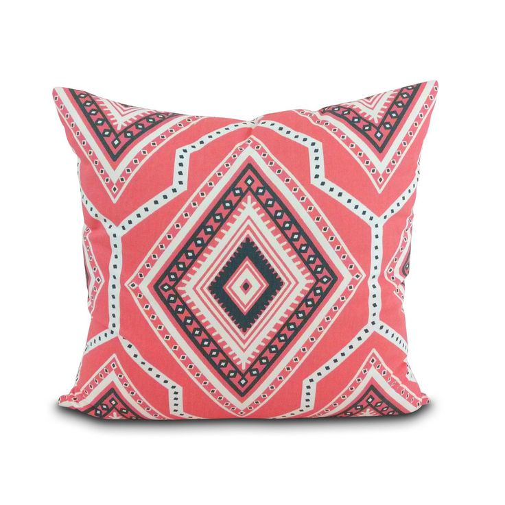 Santa Fe Pillow in Coral & Charcoal. Part of the Southwest Modern Collection of pillows and pet beds by Janery.