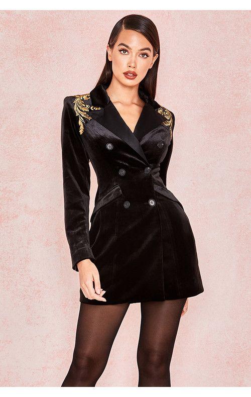 Giselle Black Velvet Blazer Mini Dress  3ec5b776f