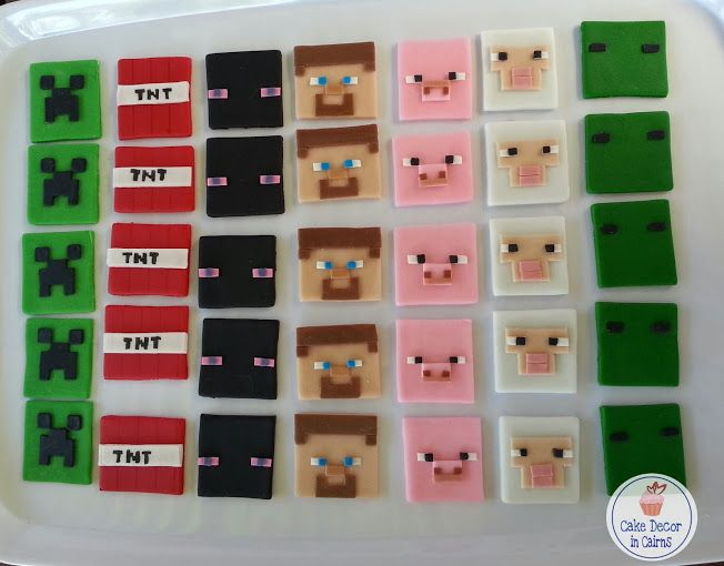 Making Minecraft Fondant Cupcake Toppers