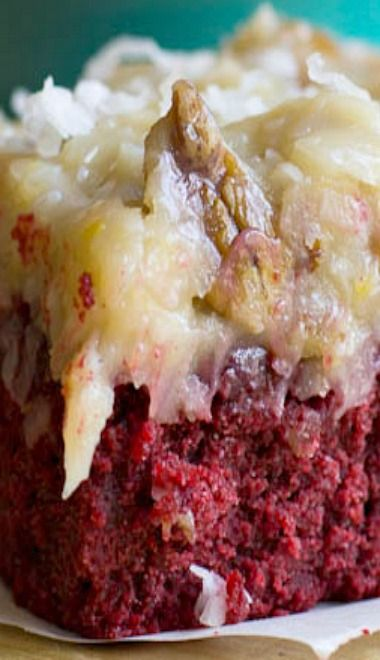 German Chocolate-Red Velvet Cake