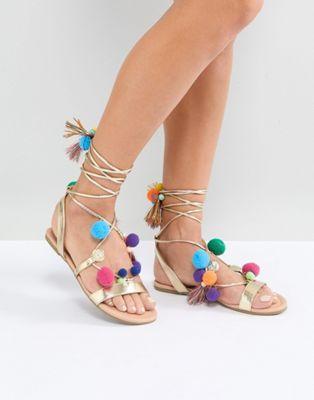 6e5ee8931b FACEMASK Pom Pom Flat Sandals | shoes & bags. | Pinterest | Sandals ...