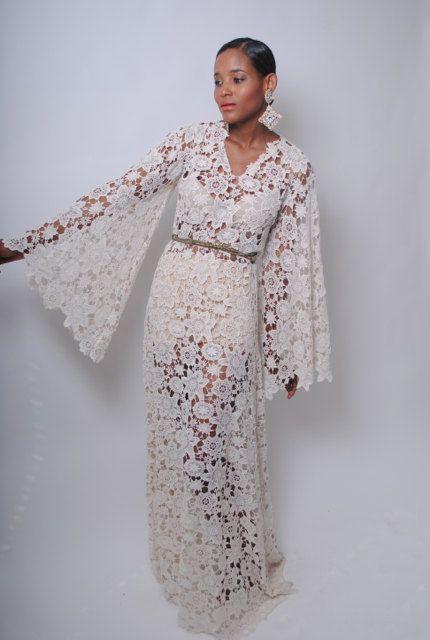 Black lovely crochet lace maxi dress