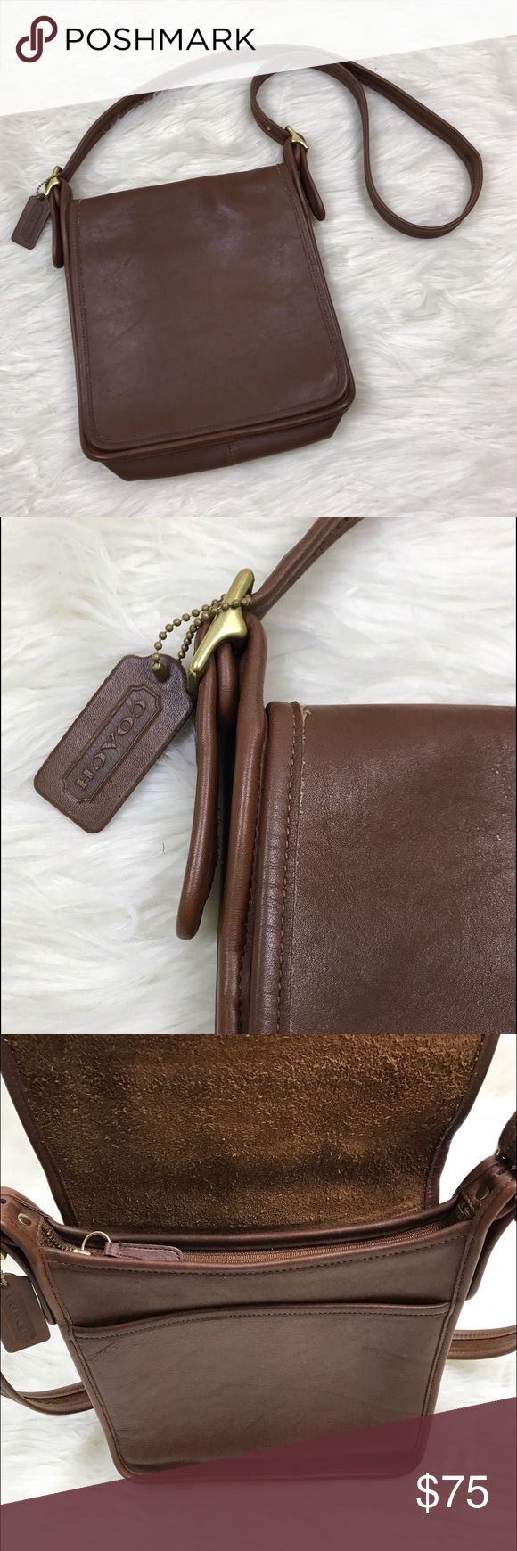"[Vintage] Coach Legacy Flap Leather Crossbody Bag Vintage COACH Legacy Studio Flap Bag. Style 9144. Rich brown leather. Flap top. Zip closure. Interior compartment with side zip pocket. Back slip pocket. Leather embossed logo hang tag. Made in USA.   Dimensions: 10"" L x 10"" H x 3"" D Strap Drop: 21"" Condition: Excellent vintage/pre-owned condition. Some light wear on bottom corners. Coach Bags Crossbody Bags"