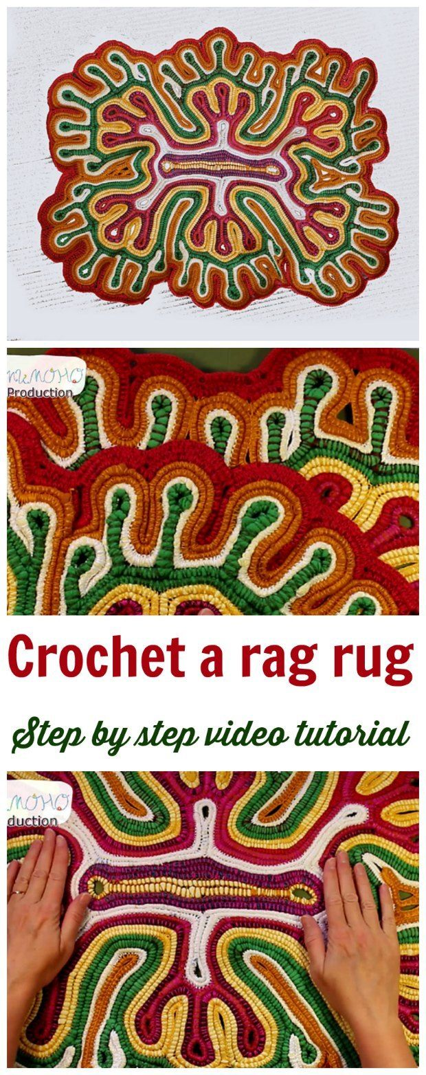 How to crochet a rag-rug with recycled fabrics. Full video tutorial.