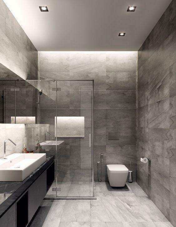 Gri banyo modelleri dekorasyon cini banyo gri - Ideas de banos ...