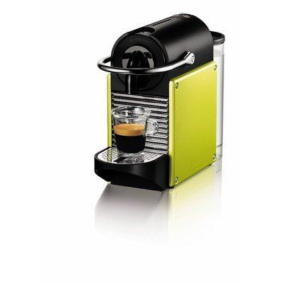 "Pixie D60 Carmine Espresso Machine Color: Electric Lime by Nespresso. $229.00. Colour/Pattern: Electric lime green with black and silver-tone accents. This espresso machine is small but delivers an espresso that is full of flavour. The unit deliv.... Sold individually. Dimensions: 12¾""L × 4-1/3""W × 9¼""H. D60-US-YE-NE Color: Electric Lime Features: -Heats up in only 25-30 seconds.-Auto power-off after 9 minutes.-Water level detection.-Convenient cable storage.-Folding..."