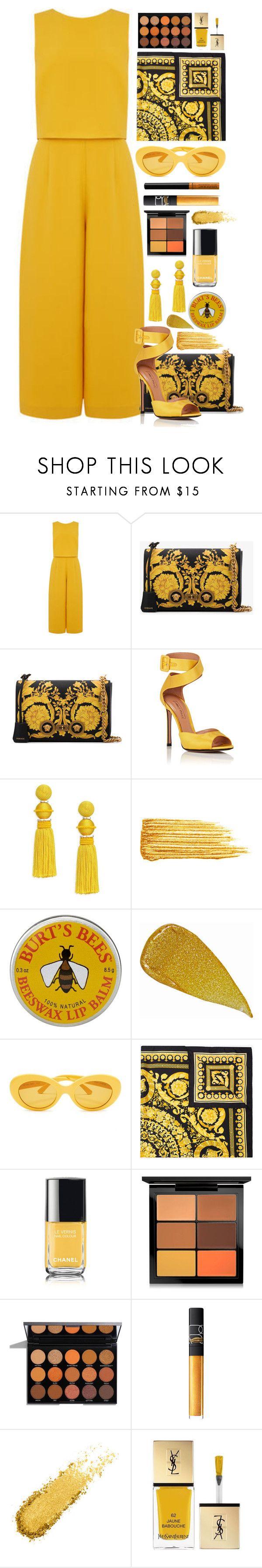 """Untitled #2751"" by seventeene ❤ liked on Polyvore featuring Warehouse, Versace, Samuele Failli, Oscar de la Renta, Yves Saint Laurent, John Lewis, NARS Cosmetics, Chanel, MAC Cosmetics and NYX"