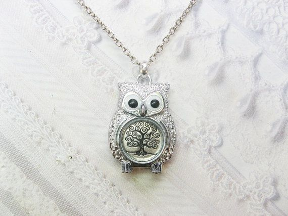 Silver Owl Necklace  Tree of Life Owl Necklace  by birdzNbeez, $28.00