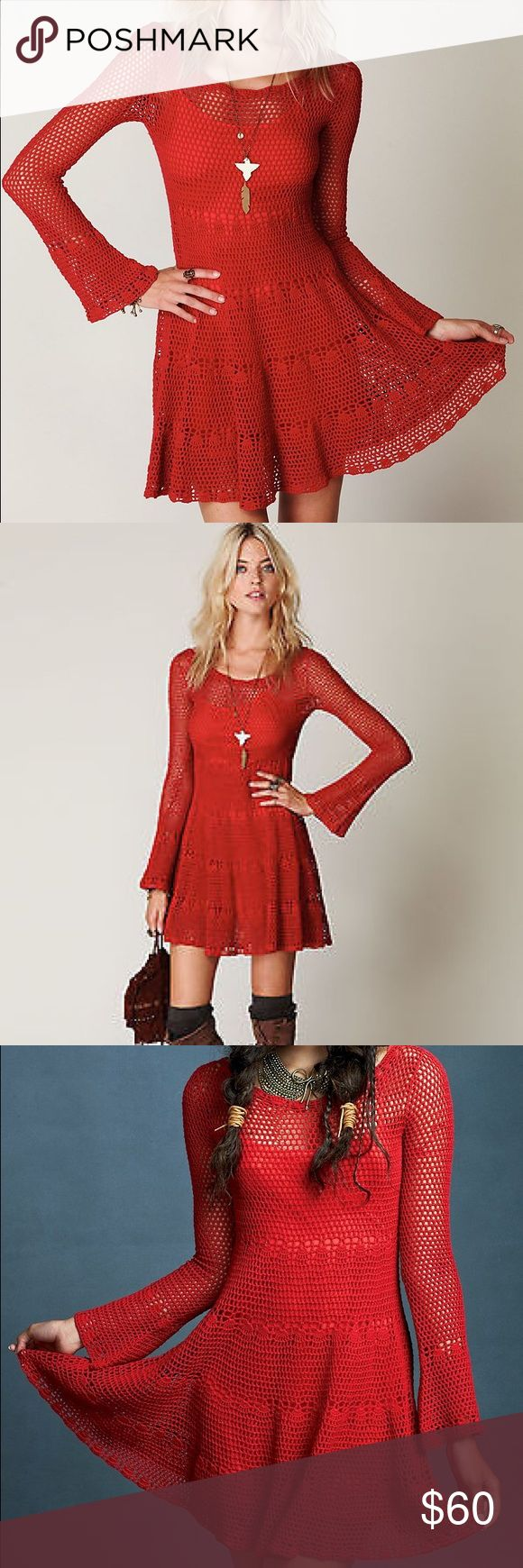 Free People Bell Crochet Mini Dress Beautiful Free People 100% cotton Medium red crochet dress with flare bell sleeves, flare skirt, and built in matching slip. Very flattering on! (Only worn once.) Free People Dresses Mini