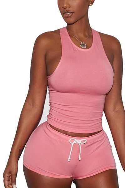 Color Pink Material Cotton Blend Suit Type Shorts Pattern Type Solid Neckline U Neck Sleeve Length Sleeveless Style Casual Bust(cm) S:86cm M:90cm L:94cm XL:98cm XXL:102cm Waist(cm) S:68cm M:72cm L:76c