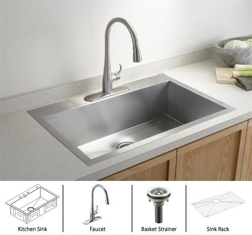 20 best kitchen sink images on pinterest kitchen ideas stainless kohler vault sink 22 x 33 x 9 single bowl over stainless steel kitchen workwithnaturefo