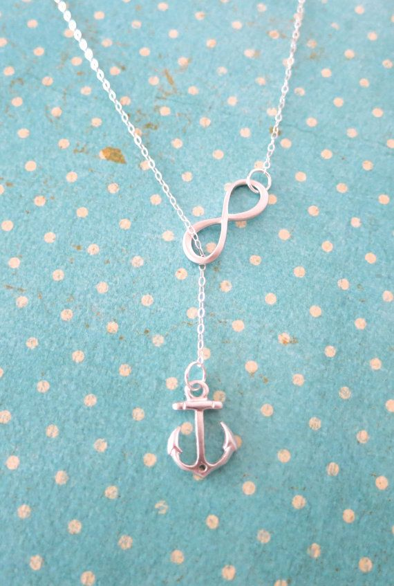 Silver Anchor and Infinity Lariat Y Necklace