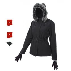 ActiVHeat Women's Rechargeable Hooded Soft-Shell Heated Jacket + Cuff-Connectable Heated Glove Liners - ALL DAY PACKAGE