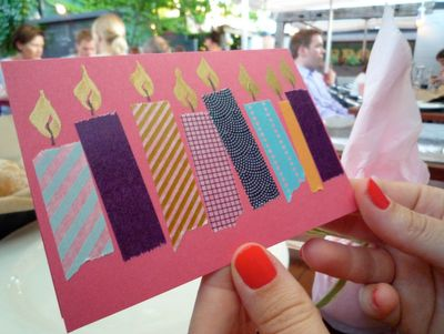carte d'anniversaire enfants, bougies / collages