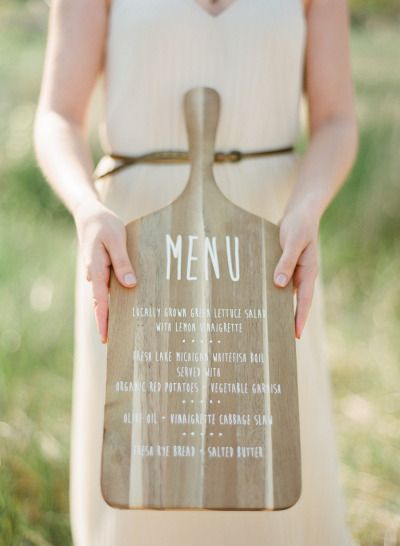 a #menu written on a wood cutting board |  Photography by meetthemccartneys.com, Design and Styling by http://www.astyledevent.com  Read more - http://www.stylemepretty.com/2013/09/17/door-county-photo-shoot-from-the-mccartneys-photography/