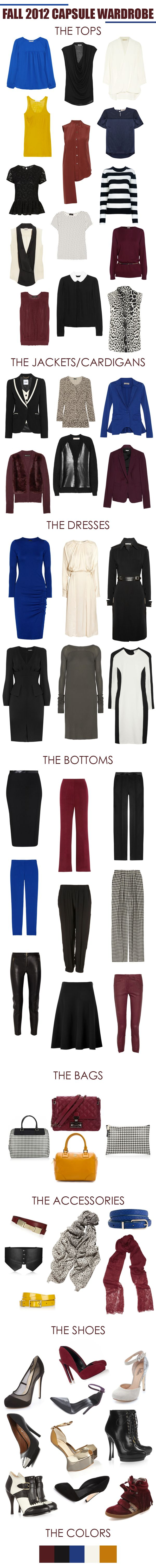 Fall 2012 Capsule Wardrobe.  I need a clothing Fairy Godmother who could just make all this appear in my closet!! :)