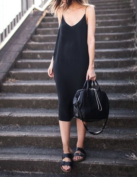Style - Minimal + Classic: casual summer #minimal black dress + black bag + sandals