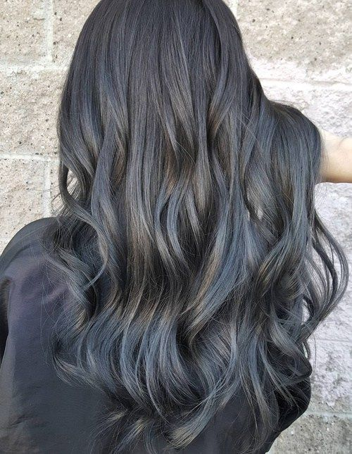 . Raven Goddess  Going grey does not have to be a full on venture – adding a touch of grey highlights to your raven locks easily puts you on trend. Hints of gray and blue ombre draw the eye down to the tips of the hair, so, make sure you have no split ends.