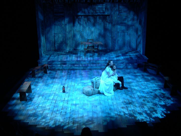 I like the wood and the symbolic blue lighting. Would be good for the first scene.  The Crucible @ Henderson State University Stage & Lighting Design by Douglas Gilpin