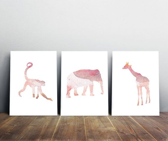 Elephant Art Monkey Art and Giraffe Watercolor - Set 3 prints - Soft pink Nursery Animal Paintings - Watercolour animal baby girls room