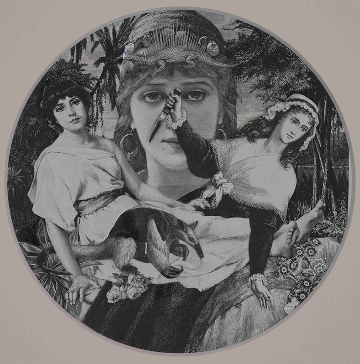 Title: Jealousy - 2014 Collage on paper Size with passepartout: cm 50x40 - ø 23cm Unique piece
