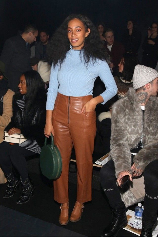 Solange Knowles wearing Tibi Pre-Fall 2016 leather trousers.