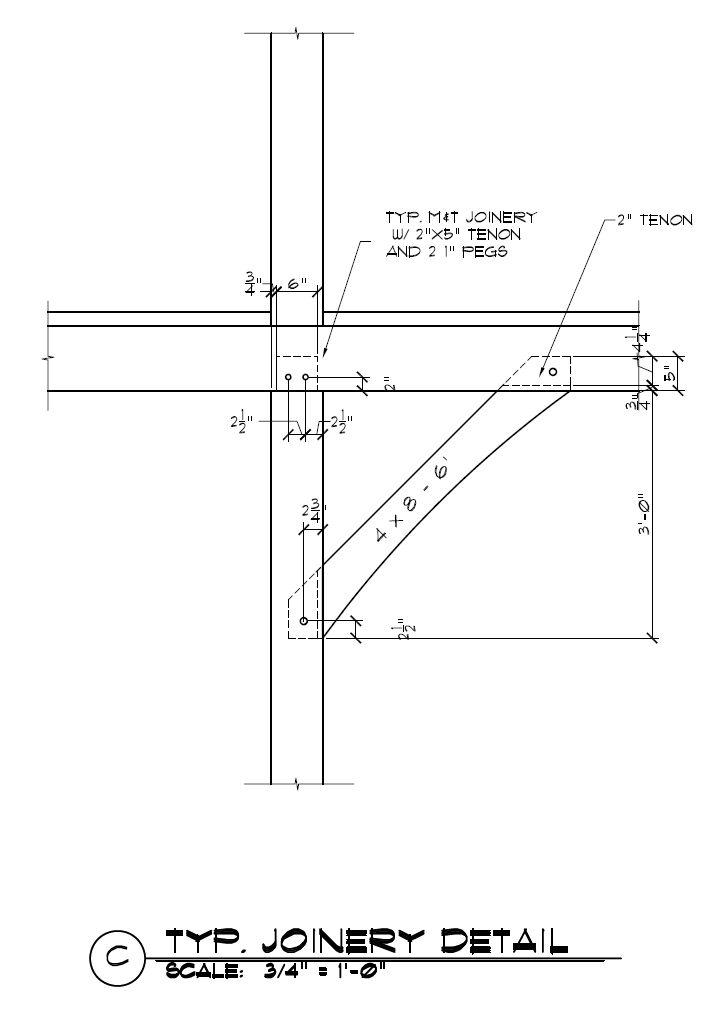 4x8 Timber Frame Knee Brace Construction Detail - http://timberframehq.com/timber-frame-knee-brace-joinery/