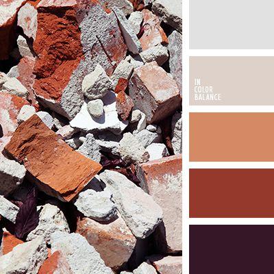 бежевый, кирпичный, коричневый, красно-фиолетовый, кремовый, оттенки рыже-коричневого, оттенки серого, рыже-коричневый, серебряный, серо-бежевый, темно-фиолетовый, цвет баклажана, цвет кирпича, цвет серебра.