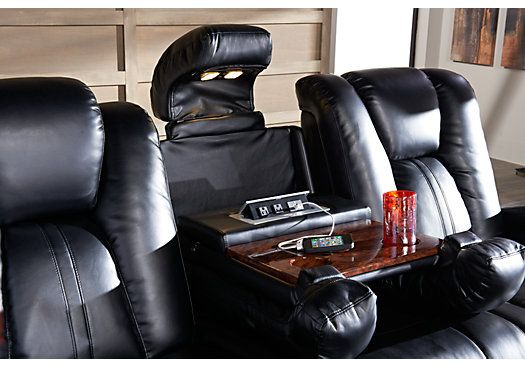 Picture Of Alexander Valley Black Power Reclining Sofa