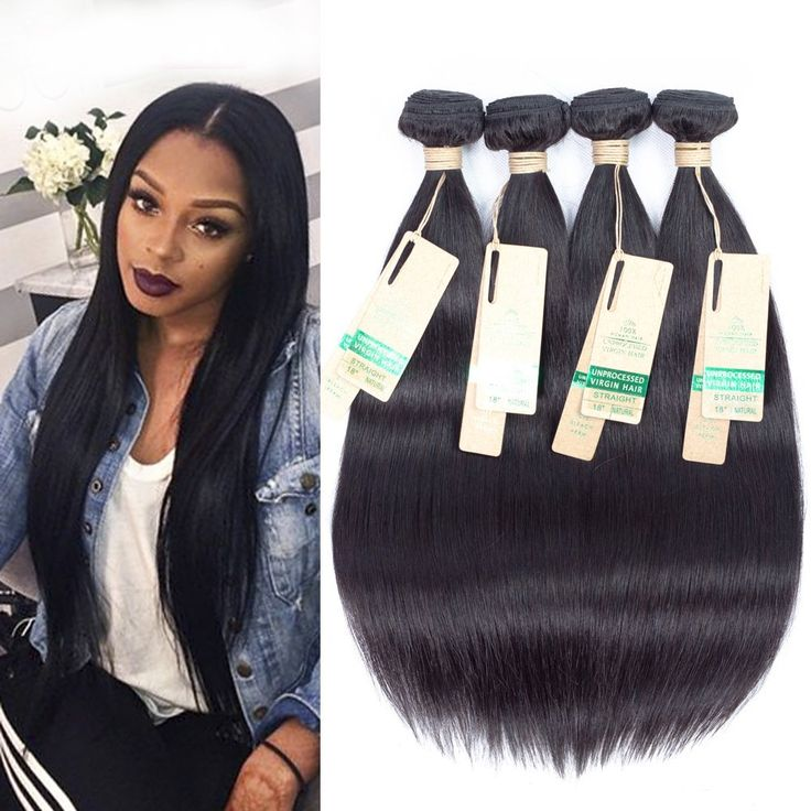 Allrun Hair Brazilian Virgin Straight Hair Bundle 100% Unprocessed Human Hair Weave Extensions Natural Color Can Be Dyed and Bleached 12 14 16 18 inch -- Visit the image link for more details. #hairstyle