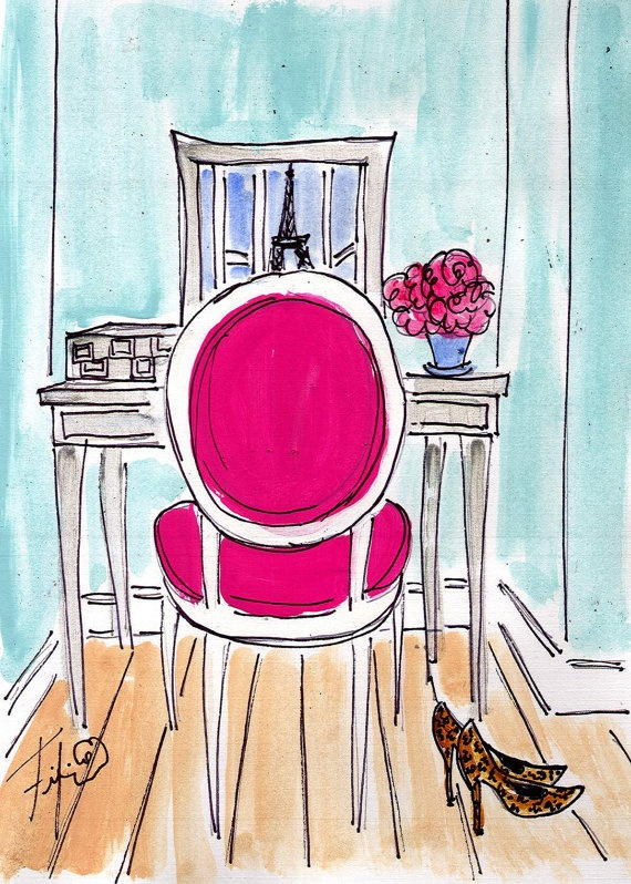 Hot Pink Chair... Leopard Heels... Paris Reflection. $5.00, via Etsy.