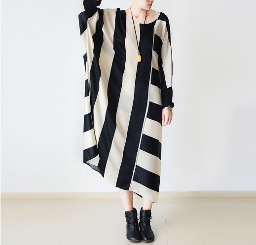 Maxikleider - Stripe loose big yards bottoming skirt dress robe - ein Designerstück von DuDuFashion bei DaWanda