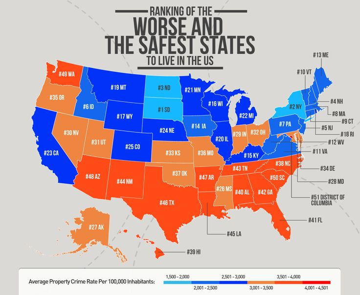 The worse and safest states to live in the us maps for Which state is good to live in usa