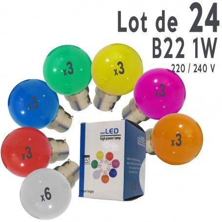 Lot de 24 ampoules LED B22 1W incassables (équivalent 15W) pour Guirlande