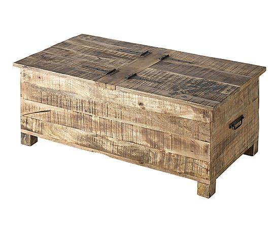 Table basse coffre bois de manguier naturel et noir for Table coffre