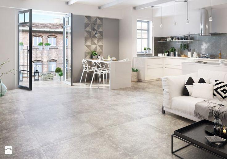 Trakt - Średni salon z kuchnią z jadalnią z tarasem / balkonem, styl skandynawski - zdjęcie od Ceramika Paradyż