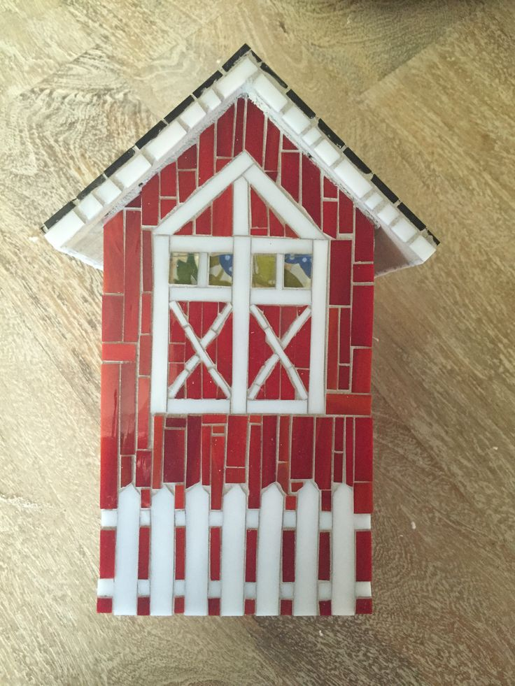 Birdhouse stained glass mosaic, rear