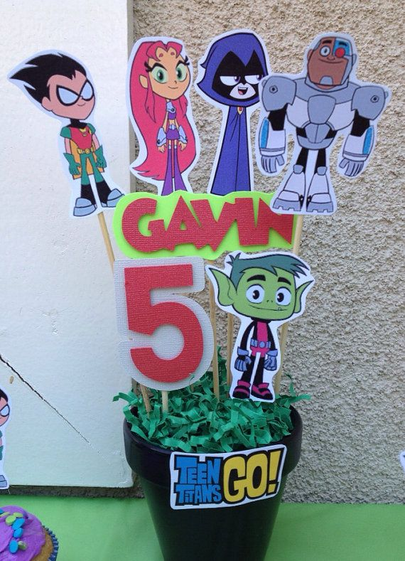 Teen Titans Go Birthday Centerpiece  by MadeForYouByMonica on Etsy, $10.00
