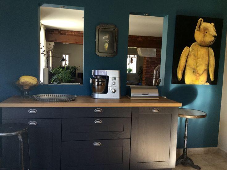 Meuble cuisine bleu cuisine cuisine en promo leroy merlin for Cuisine avec mur bleu canard
