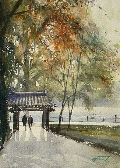 Autumn Leaves, Kyoto, Japan IV by Keiko Tanabe Watercolor ~ 11 1/2 x 8 1/4 inches (29 x 21 cm)