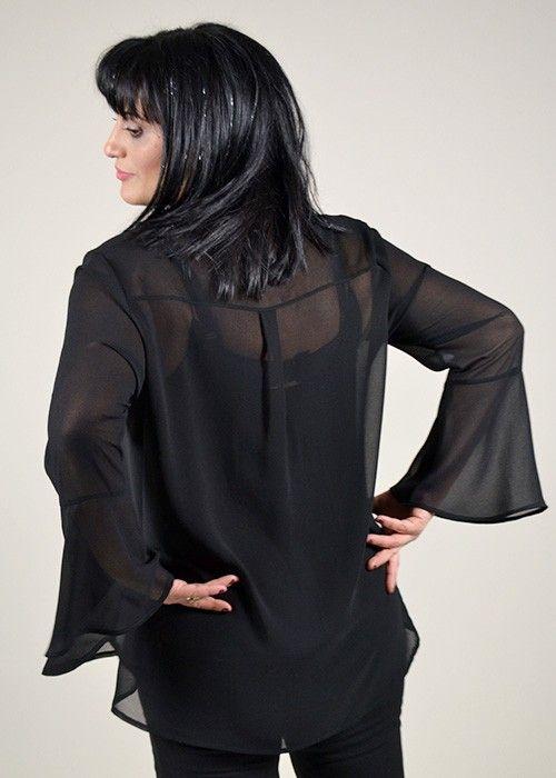 πουκάμισο μουσελίνα με τρουακάρ μανίκι