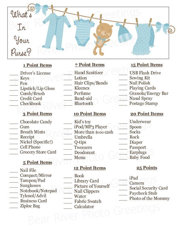 What's In Your Purse Baby Shower Game - Blue Clothesline - Printable PDF - Instant Download