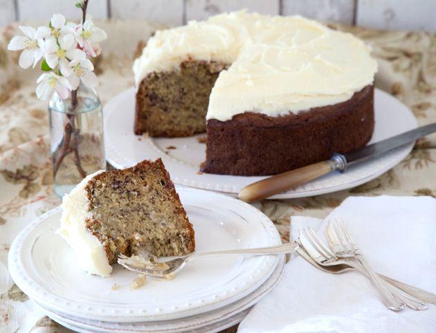 Best-Ever Banana Cake Recipe Desserts, Afternoon Tea with butter, sugar, eggs, vanilla extract, bananas, baking soda, milk, flour, baking powder, butter, lemon juice, powdered sugar