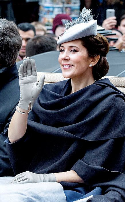 Crown Princess Mary during carriage procession along Strøget - April 16, 2015